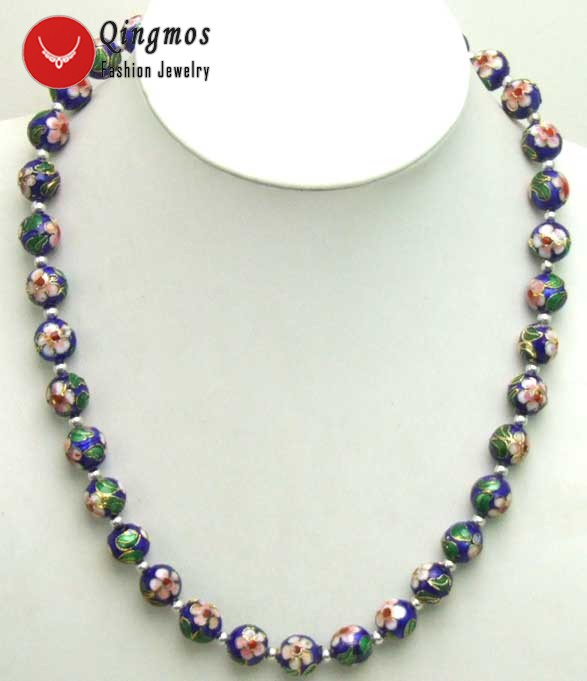 Qingmos Blue Cloisonne Choker Necklace for Women with 12mm Blue Round Cloisonne & White Flower 20 Necklace Fine Newelry-5381