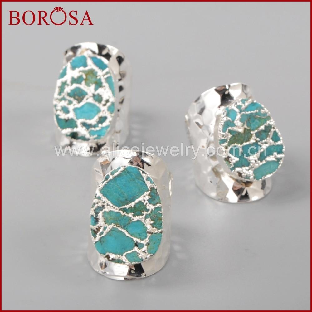 BOROSA sudraba krāsa 100% dabiskā zilā akmens Druzy joslas - Modes rotaslietas - Foto 4