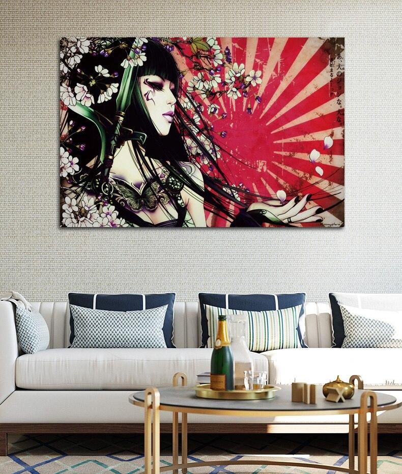 €7.0 36% de réduction|Asiatique oriental femmes femmes filles filles  tatouage fantaisie KA320 chambre maison mur moderne art décor bois cadre ...