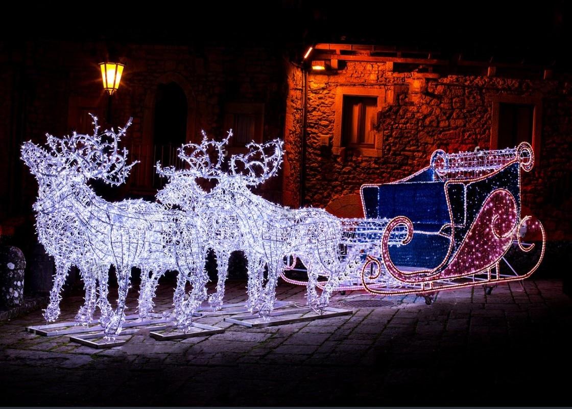 Christmas garland reindeer sleigh street night light cottage Backgrounds Vinyl cloth Computer print party photo backdrop christmas snowy santa sleigh print fabric waterproof shower curtain