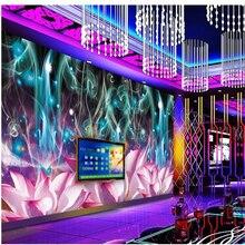 beibehang 3d stereoscopic Dazzle colour lotus murals Europe TV backdrop