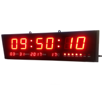 Large Digital Led Wall Modern Clock Timer with Calendar Temperature for Living Room, Office, Meeting Room