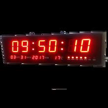 Duży ścienny Led cyfrowy Led nowoczesny zegar zegar z kalendarz temperatury do salonu biura sala konferencyjna tanie tanio DIGITAL 610mm Zegary ścienne Plac Kalendarze HIT6-3(RQ) Metal NoEnName_Null 187mm