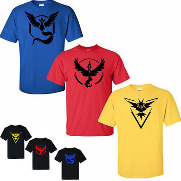 Pokemon Go Team T shirts Men's anime thrasher Tops & Tees Casual T shirts Man Pokeball nerd Team Tee shirt yeezy pokemon go