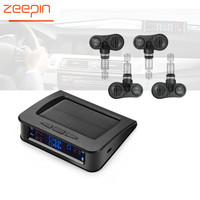 ZEEPIN C220 Tire Pressure Monitor System Solar Powered TPMS Car Detector Temperature Alarm 4 Internal/External Sensors