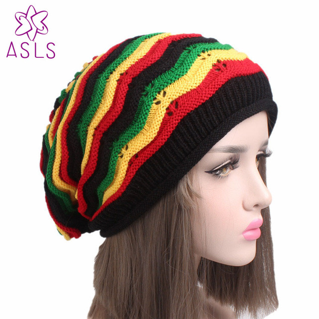 7c077306ad2 2017 Hot sale Fashion Winter Knitted Crochet Halloween Beret Hat Cap  Jamaican Reggae Rasta slouchy baggy