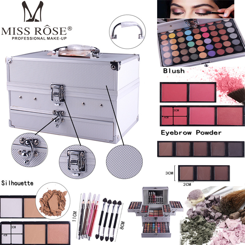 Miss Rose Professional 140 Color Makeup set Piano Box in Aluminum Box Eyeshadow Powder BlushMultifunctional Cosmetic Tool miss rose professional 144 color 3 color blush 3 color eyebrow cosmetic makeup kit