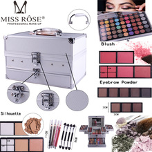 Miss Rose Professional 140 Color Makeup set Piano Box in Aluminum Box Eyeshadow Powder BlushMultifunctional Cosmetic Tool new eyeshadow powder make up lip gloss blush multifunctional cosmetic tool professional makeup set piano aluminum box