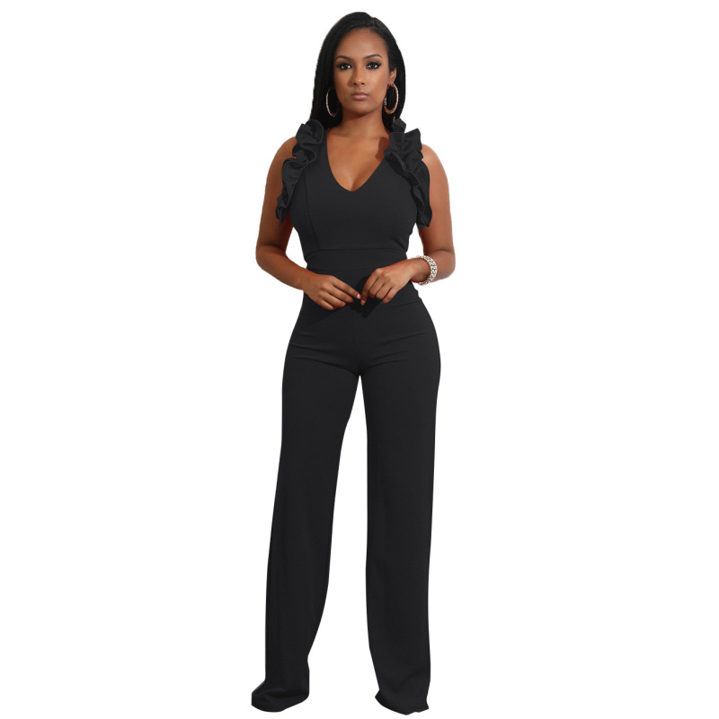 Sexy Women Jumpsuit Rompers Spaghetti Strap Wide Legs Bodycon Jumpsuit V Neck Ruffles Solid Romper Trousers Overalls in Jumpsuits from Women 39 s Clothing