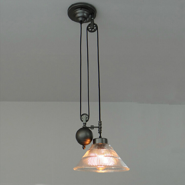 Kitchen Rise Fall Pulley Pendant Lights Light Retro Wrought Gl Fixture