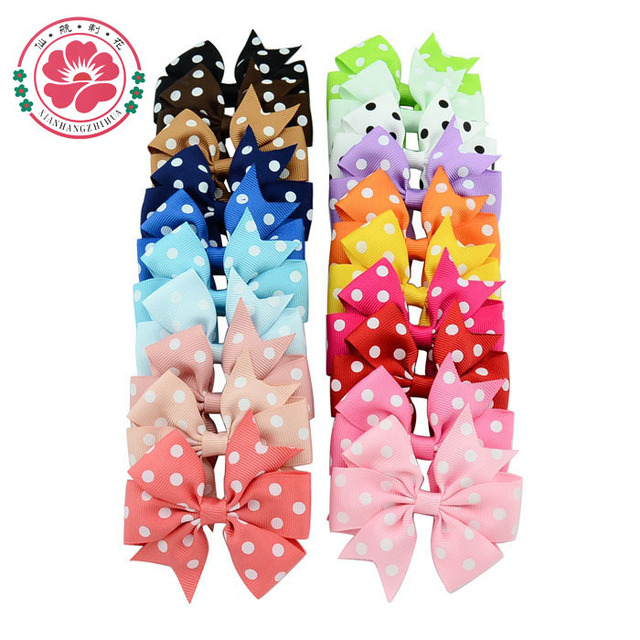 ( 20 pcs/lot)  3 inch Polka Dot Grosgrain Ribbon Bows WITH Clip Boutique  Hair Accessorise 592