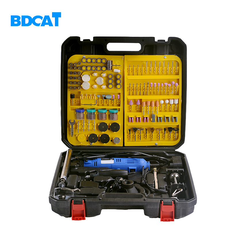 BDCAT double Electric Dremel Variable Speed Rotary Tool Mini Drill with Flex Shaft and 256pcs Power Tools accessories set 180w electric power tools mini drill rotary tools accessories with drill bits cutting discs sanding paper flex shaft