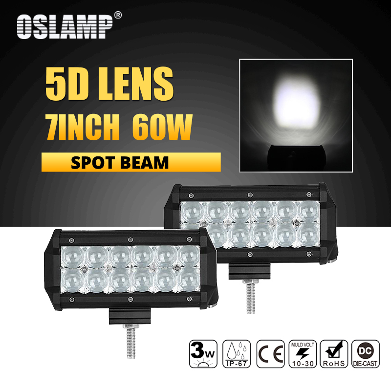 Oslamp 7inch 5D 60W 2pcs Spot Beam LED Work Light Bar Truck SUV ATV Boat 4x4