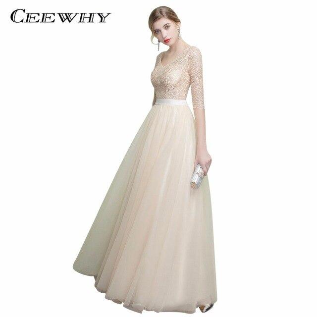 e85ba70605213 US $122.0 |CEEWHY V Neck Half Sleeve Vestido Elegante Lace Tulle Long Dress  Abiye Plus Size Evening Dress Luxury Wedding Party Dress-in Evening ...
