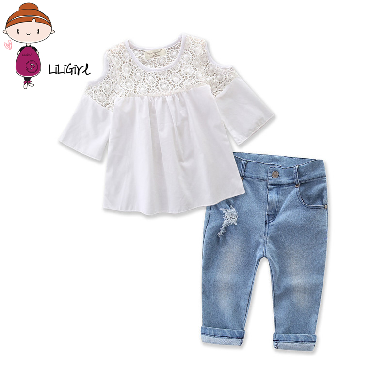 Two-Piece Baby Girl Sets Children's Suit Girls Cotton T-Shirt+Jeans Toddler Girl Elegant Clothes Suit 2017 Summer Autumn New