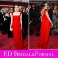 Miley Cyrus Red premios Oscar vestido de Red Carpet Floor Length Celebrity vestido de noche de gasa Cap manga vestido de fiesta vestido longo