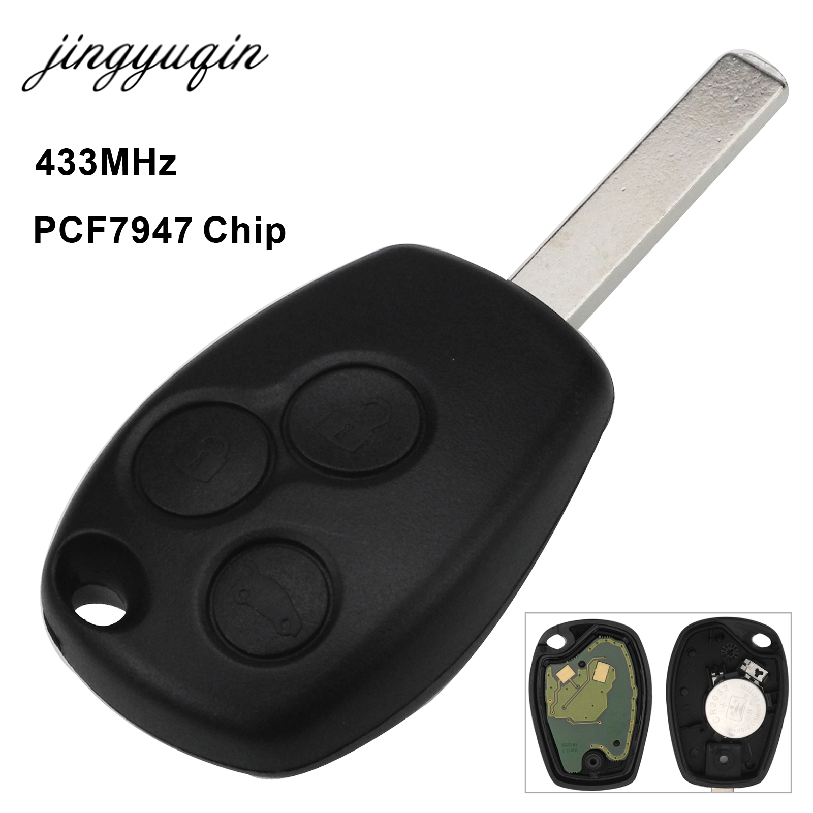 Jingyuqin Fernbedienung Auto Schlüssel 2/3 Taste 433MHz PCF7947 Chip Für Renault/Kangoo II/Clio III Duster modus Twingo DACIA Logan