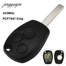 jingyuqin Remote Control Car Key 2/3 Button 433MHz PCF7947 Chip For Renault /Kangoo II /Clio III Duster Modus Twingo DACIA Logan(China)