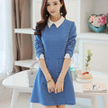 2016 Vestidos Das Mulheres Do Escritório Xadrez Costura Assentamento Coreano As Mulheres Se Vestem de Longo-Vestido de mangas compridas Azul Mavodovama Robe Moulante ~ 447