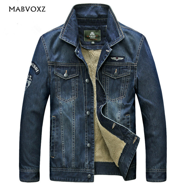 e39b932a4c1 Vintage Denim New 2017 Men Jeans Jackets Classic Style European and American  Slim Fit Thick Fur inside Coats Brand AFS JEEP