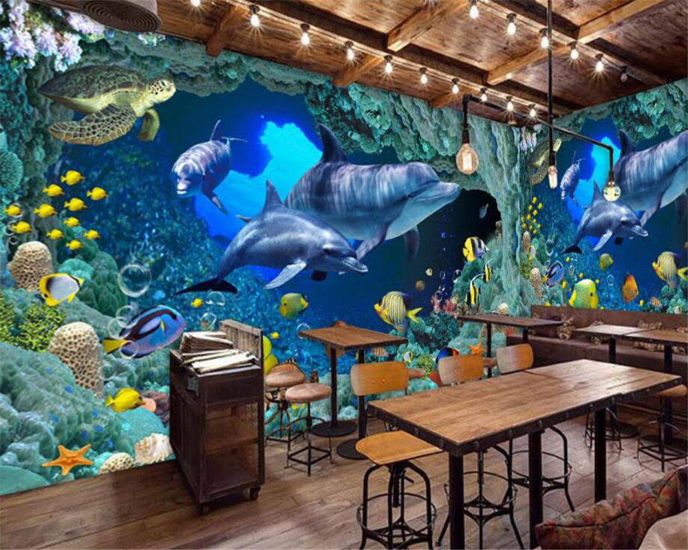 Keuken 3 Meter Beibehang Custom Wallpaper Blue Underwater World Dolphin