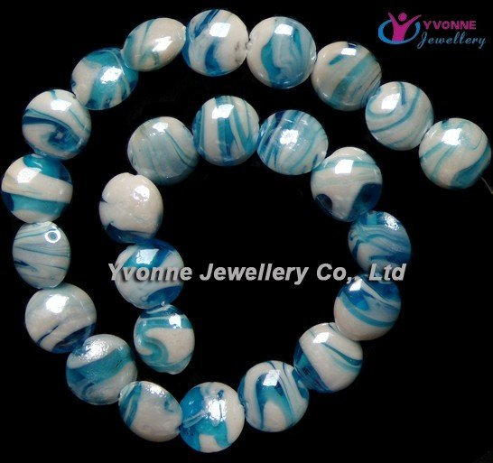 YA0264 Charming Lampwork Glass Blue Round Loose Beads free shipping