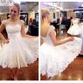 Hot Selling 2016 STD White A-Line Scoop Capped Sleeve Tulle  Lace Pearls Knee-Length Homecoming Dresses Cocktail Party Gowns