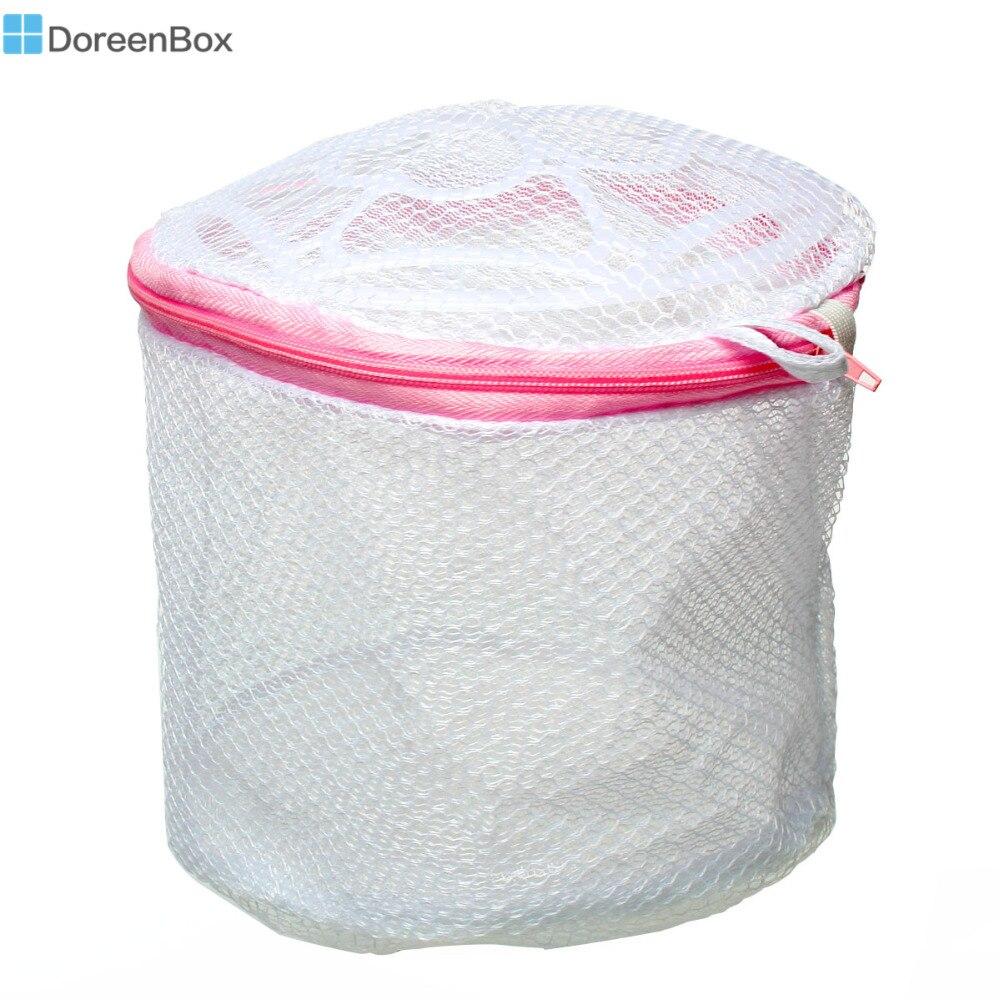 Doreen Box Polyester Foldable Mesh Laundry Wash Bag Storage Organizer Cylinder White 17cm(6 6/8) x 14cm(5 4/8) , 2 PCs