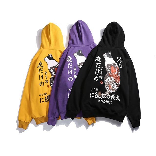 New Men Japanese Printed Hooded Pullover Sweatshirt Men High Street Fashion Hip Hop Streetwear Hoodie Autumn