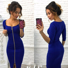 2017 Autumn Winter Women Dress Blue Red Black Solid Dress Fashion Dresses Knee-Length Sexy Party Office Wear Dress