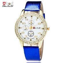 Золото Diamond Relogio цифровой циферблат сплав Циферблат Синий кожаный ремешок Для мужчин пара Повседневное кварцевые часы черный наручные Для мужчин s часы c484
