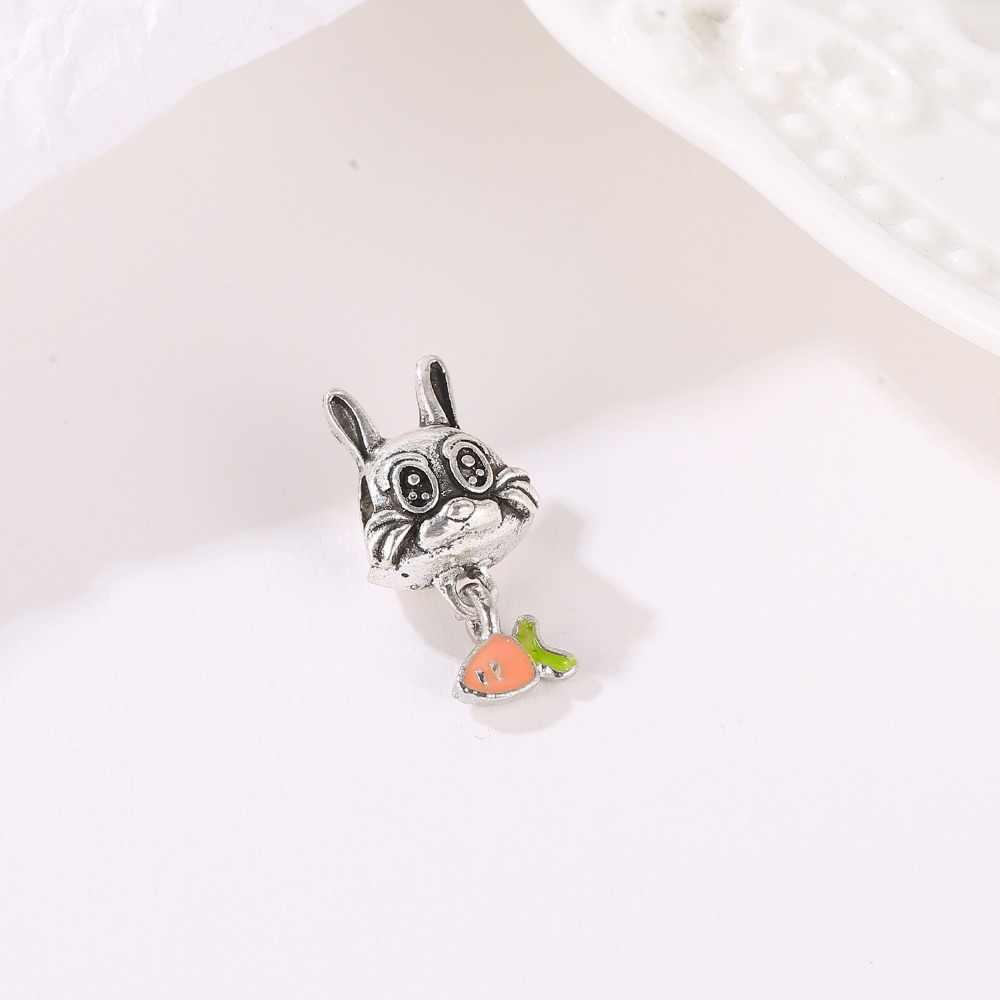 DIY קסם פנדורה קסם סגסוגת תליון חרוז חמוד בעלי החיים כלב חתול ארנב פיל קסם Fit פנדורה צמיד & necklack DIY נשים