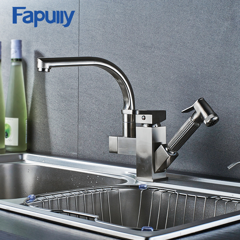 Fapully Kitchen Sink Faucet Brushed Nickel Torneira All Around Rotate Swivel Mixer Tap