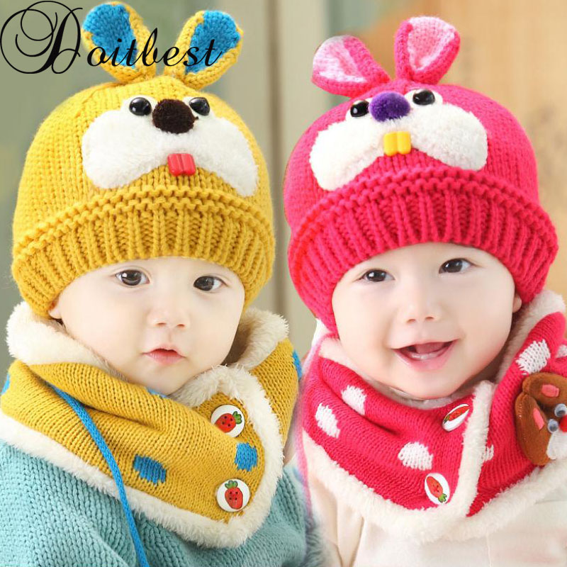 Doitbest 6 Months To 3 Y Old Kids Beanies Two Ears Rabbit Model Boys Knitted Hats Winter 2 Pcs Fur Baby Girl Scarf Hat Set