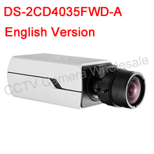 Free shipping English version DS 2CD4035FWD A 3MP 120dB WDR Smart IP Box Camera Support 128G