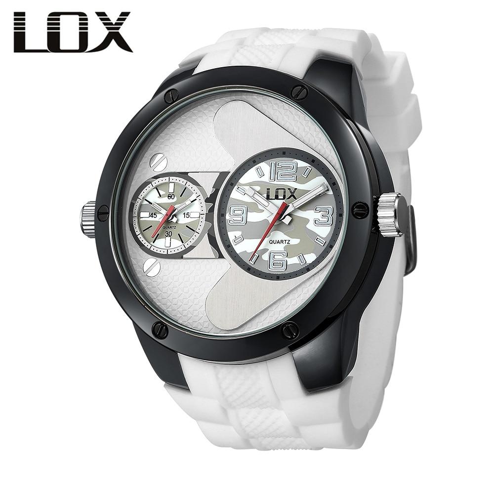 LOX Pánská móda Casual Dvojitá hodinová pásma hodinky Top - Pánské hodinky