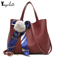 Brand Casual Women Composite Bag with Ribbons Leather Handbag Solid Shoulder Messenger Bags Women Crossbody Bags Fashion Tote