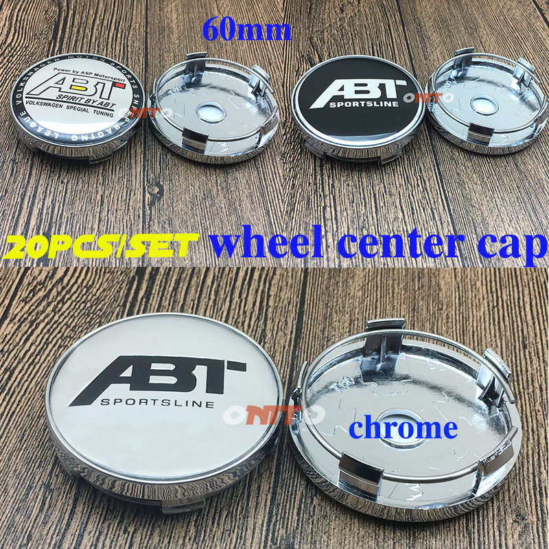 HOT SALE Car Styling Wheel Center Cap Rim Cover 60mm 2.36 20PC Accessorie Chrome Wheel Cap Hub Cap for ABT logo Emblem Decal
