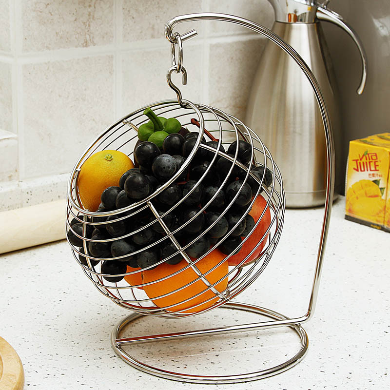 Ball Shaped Stainless Steel Swing and Hanging Fruit Basket ...