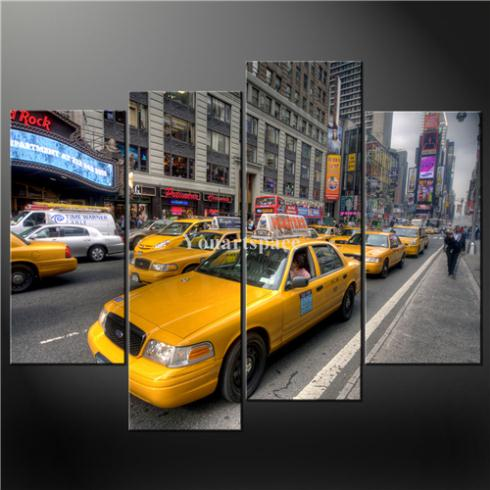 4 Piece Wall Art Painting Pictures Print Canvas Yellow New York Cabs Cascade Picture Oil Home Modern Decoration - Youartspace store