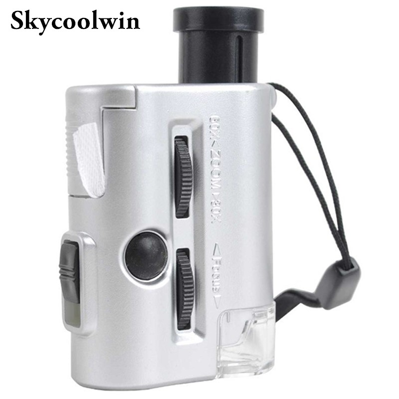 Zoom 30X-60X Pocket Microscope with LED and UV Light For Currency Detecting*