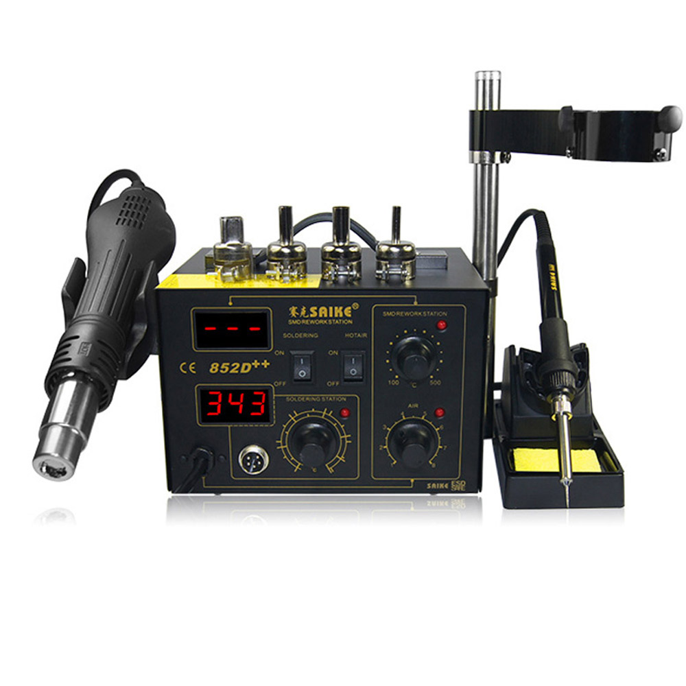 220 V/110 V Saike 852D + + Hot Air Rework Station soldeerstation BGA De Solderen 2 in 1 met Supply Air Gun Rack en geschenken - 2