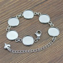 Stainless Steel Fit 12mm Glass Cabochons Bracelet Bangle Settings Base Blank Findings Tray Bezel Setting For Bracelet Making(China)