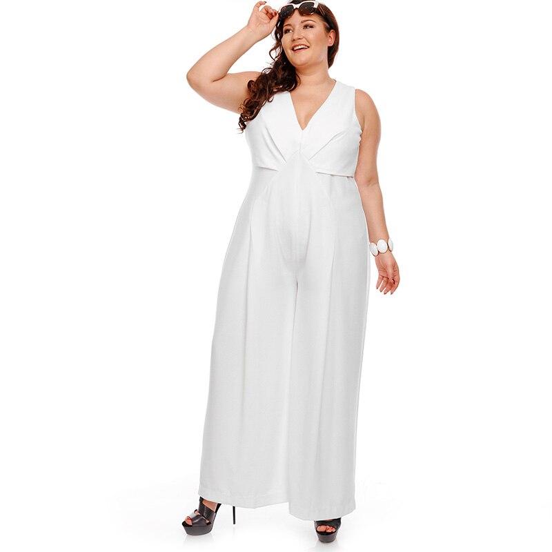 7c39064535c Plusee Plus Size Jumpsuit 5XL Women Plain White Jumpsuit Slim Autumn  Sleeveless V Neck Full Length Wide Legs Plus Size Jumpsuit -in Jumpsuits  from Women s ...