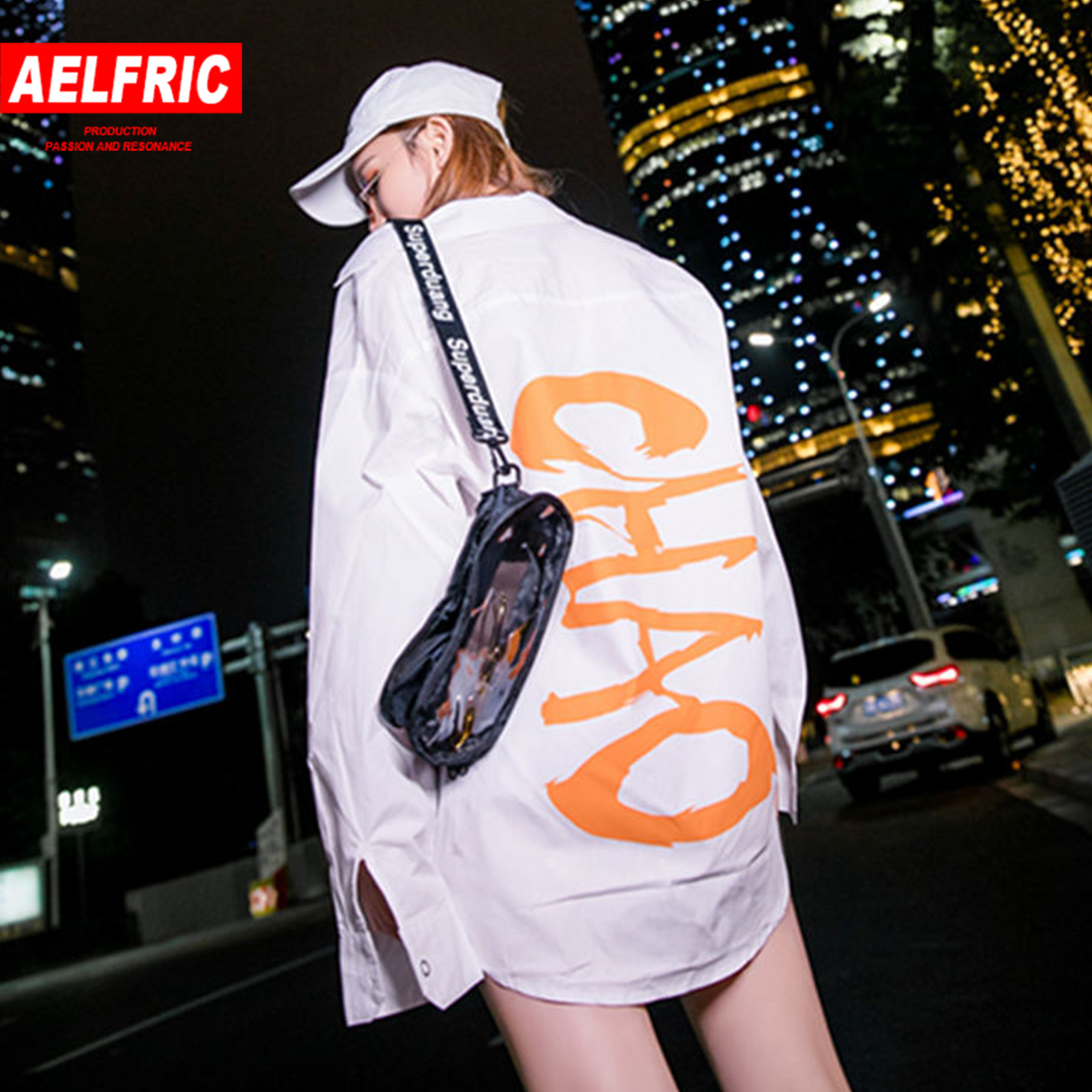Aelfric Hip Hop Letter Print Long Sleeve Shirts Pockets Patchwork Streetwear 2019 Women Harajuku Fashion Casual Cowboy Blouse