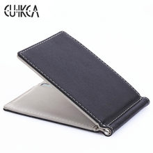 CUIKCA South Korea Style Money Clips Fashion Men Wallet Purse Ultrathin Slim Wallet Mini Leather Wallet ID Credit Card Cases(China)