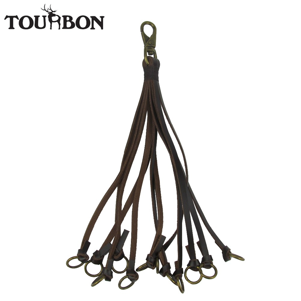 Tourbon Hunting Gun Accessories Genuine Leather Birds Hanger Duck Strap Game Carrier 12 Loops For Shooting