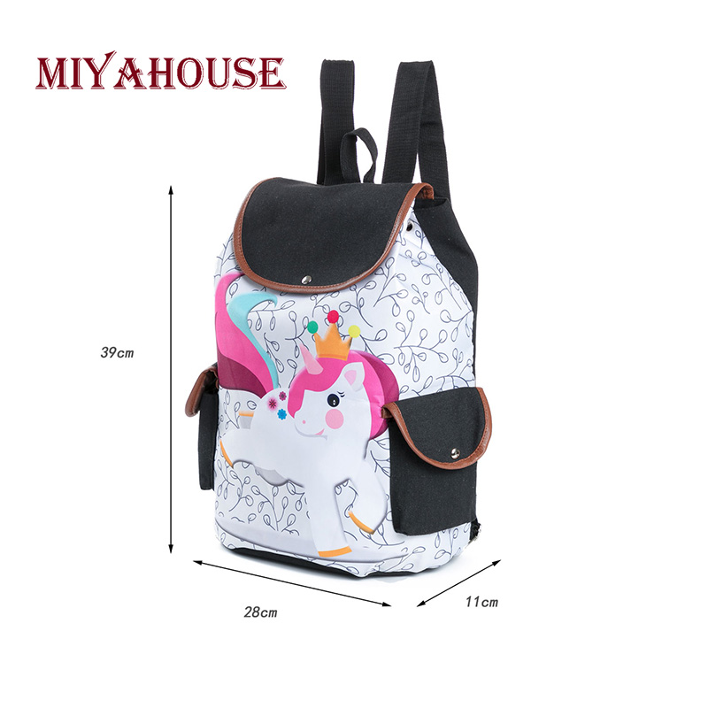a5d7073ee301d Miyahouse Casual Striped Unicorn Printed School Backpack For Teenage Girls  Cartoon Design Canvas Drawstring Travel Bag Female-in Backpacks from  Luggage ...