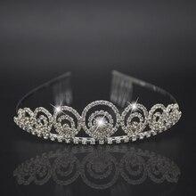 Silver headdress luxurious hair accessor Hair Comb Princess Crown Bridal Jewelry Shiny Rhinestone Headband for Engagement Bijoux