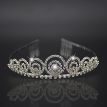 Silver headdress luxurious hair accessor Hair Comb Princess Crown Bridal Jewelry Shiny Rhinestone Headband for Engagement